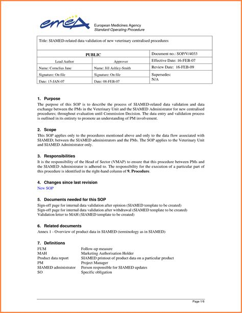 Sop Report Template 6 Standard Operating Procedure Template Word Sales
