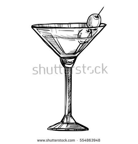 martini shaker drawing alcoholic cocktail sketch vector stock vector