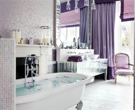 Gorgeous lavender curtain Shabby chic Bathroom