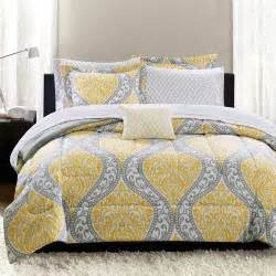 walmart bed linens mainstays yellow damask bedding bed in a bag walmart