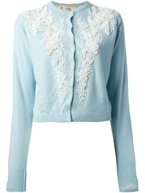 embroidery flower cardigan pringle of scotland floral embroidered cardigan in blue lyst