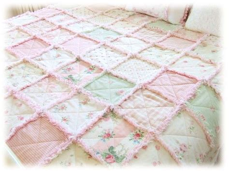 Pink Patchwork Quilts - pink roses raggy ruffled patchwork quilt quilts