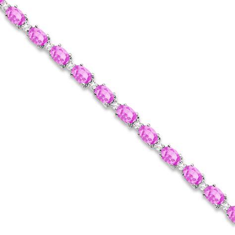 pink sapphire tennis bracelet 14k white gold 12 00ct