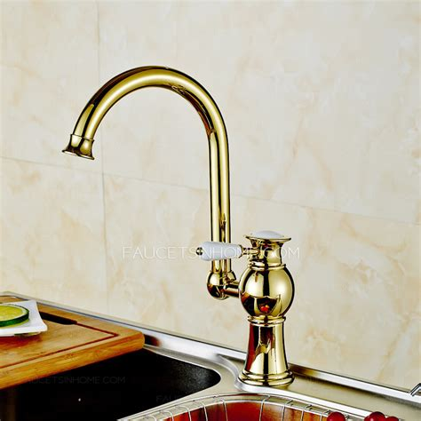 antique polished brass radian handle kitchen faucet on sale