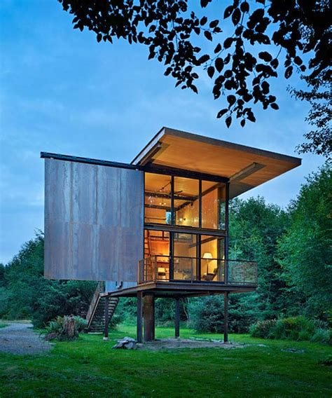 Steel Cabins by Steel Cabin Design In The Woods Modern House Designs