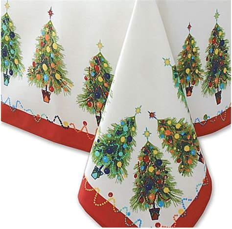 fiesta ware christmas tree tablecloth 70in round holiday