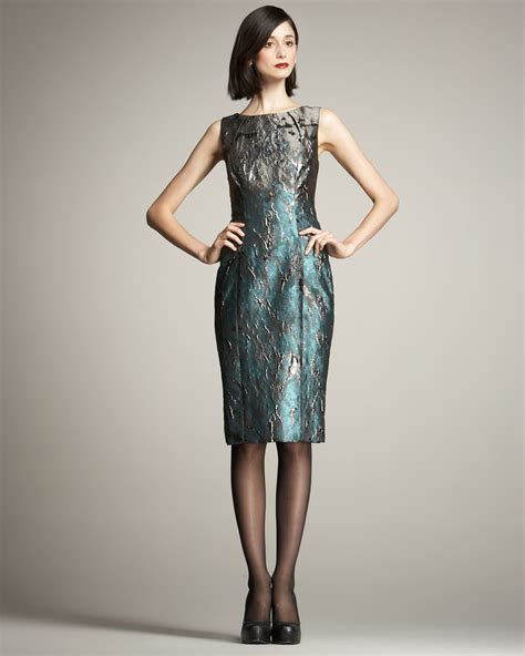 Carolina herrera Metallic Jacquard Dress in Blue   Lyst