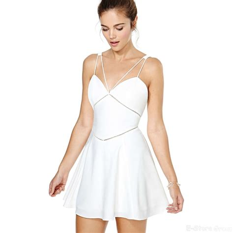 White Dress Pantai S tropical brand newest spaghetti skater white mini dresses gowns for summer