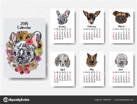 Calendario De Cachorro Calend 225 De 2018 Cachorro Fofo Vetores De Stock