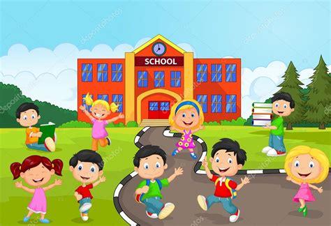 imagenes animadas escolares dibujos animados feliz escolares frente a la escuela