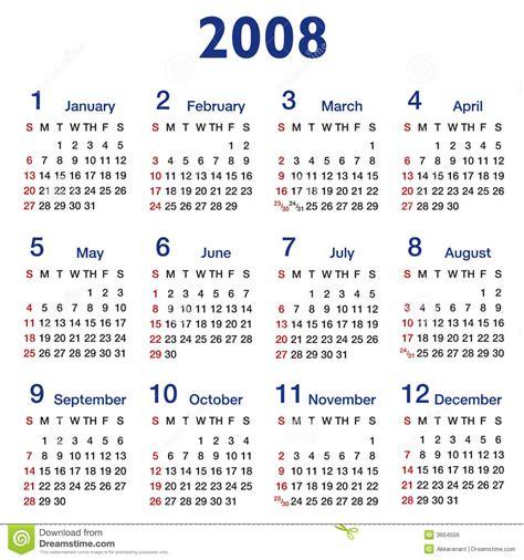 Calendario Ano 2008 Square Ratio 2008 Calendar Stock Vector Image Of Journal