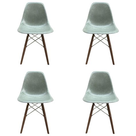four herman miller eames seafoam dining chairs for sale at