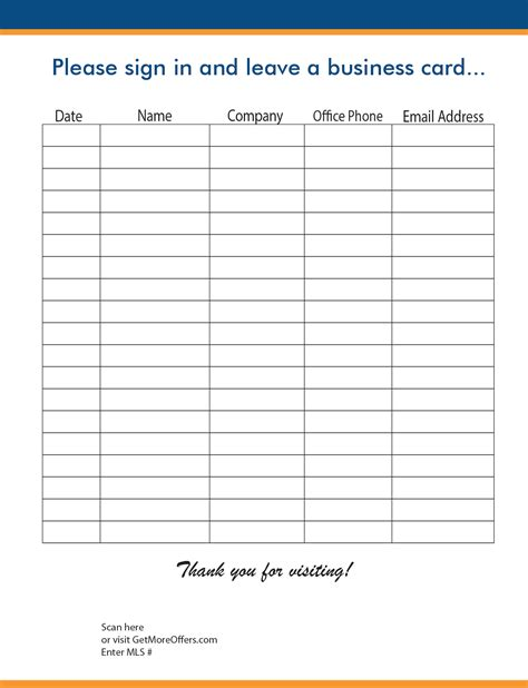 open house sign in sheet open house sign in sheet printable