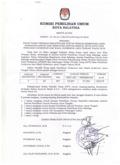 Berita Acara Rapat by Berita Acara Rapat Pleno Penetapan Daftar Pemilih Tetap