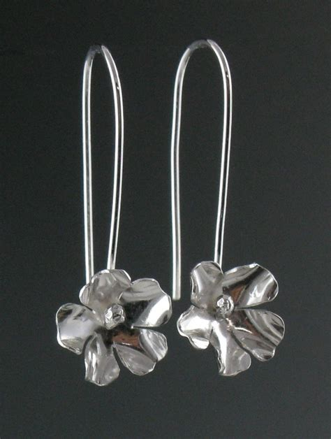 Silver Earrings Handmade - sterling silver flower earrings handmade
