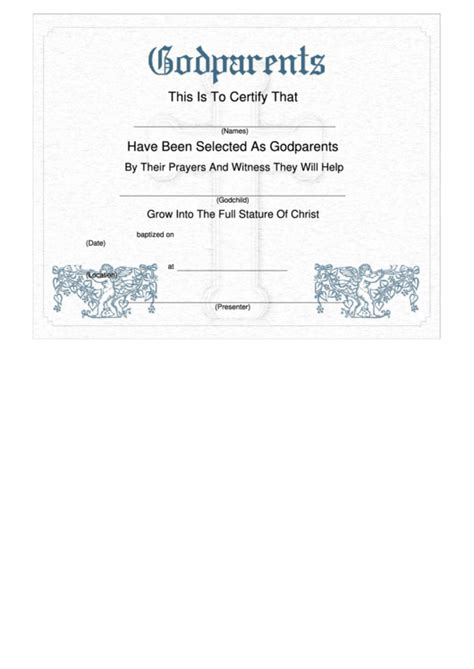 godparent certificate template 89 godparent certificate templates free student