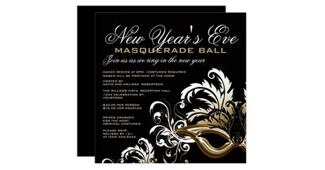 new years eve masquerade ball invitations zazzle com