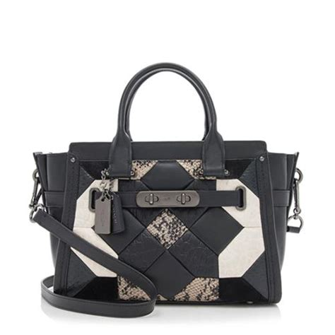 Coach Swagger 27 Pebbled Leather Embellished Quilt Satchel coach leather quilt swagger 27 carryall satchel sale