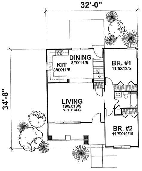 thehousedesigners small house plans plan 1662 the grafton heated area 936 sq ft first floor 936 sq ft width 32 ft