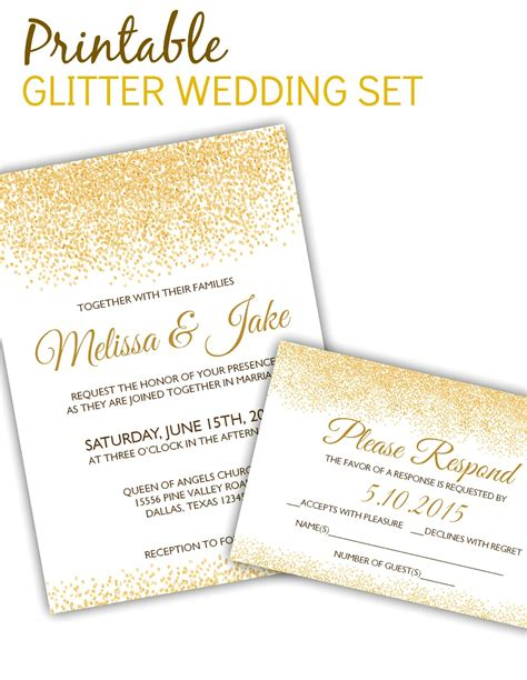 posh invitation template printable glitter invitation rsvp template posh pixel