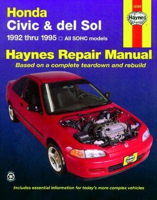 online auto repair manual 1992 honda civic navigation system 1992 1995 honda civic and del sol haynes repair manual