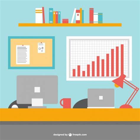 Office Desk Vector Office Desk Flat Vector Illustration Vector Free