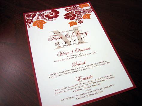 Wedding Invitation Menu Cards by Menu Cards Page 2 A Vibrant Wedding