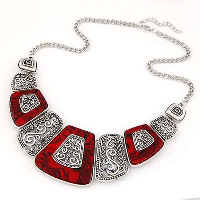 Kalung Korea Choker Pendant Decorated Hollw Out Weaving magnifying simple geometry shape alloy bib necklaces asujewelry