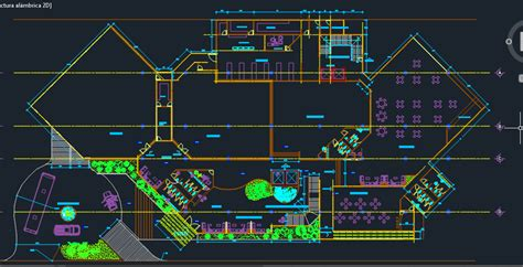 luxury hotel  pool  parking  dwg design plan  autocad designs cad