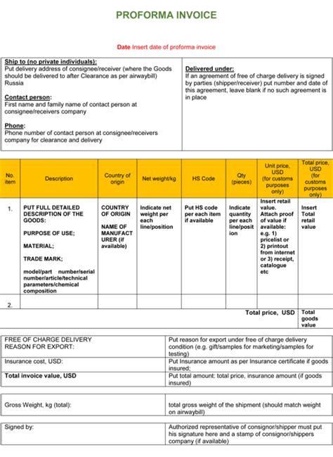 template of proforma invoice proforma invoice template doc invoice sle template