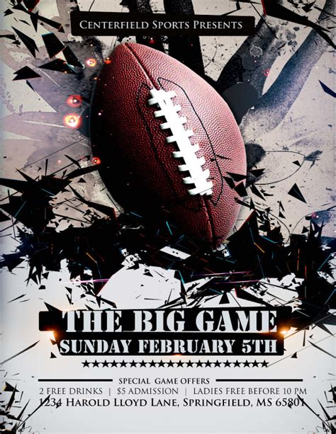 Free Photoshop And Illustrator Flyer Templates For The Big Football Game Free Football Flyer Design Templates