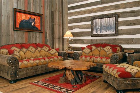 rustic western living room decor with natural wall stone decoration western furniture and decor style leather sofas