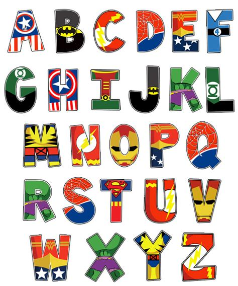 printable superhero font ten themed alphabet prints superhero superhero