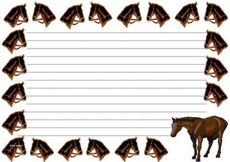 Lined Paper With Horse Border | year of the horse themed lined paper pageborders by