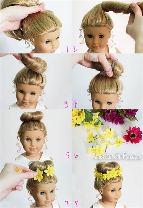 hairstyles for american girl dolls american girl fan hairstyle bun flower crown american