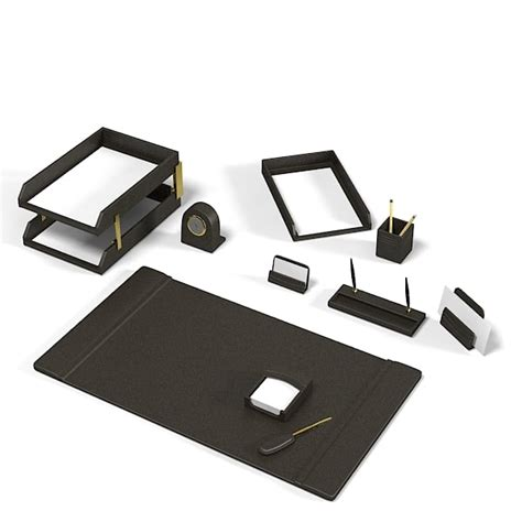 Best Office Desk Accessories 3d Model Office Desk Set