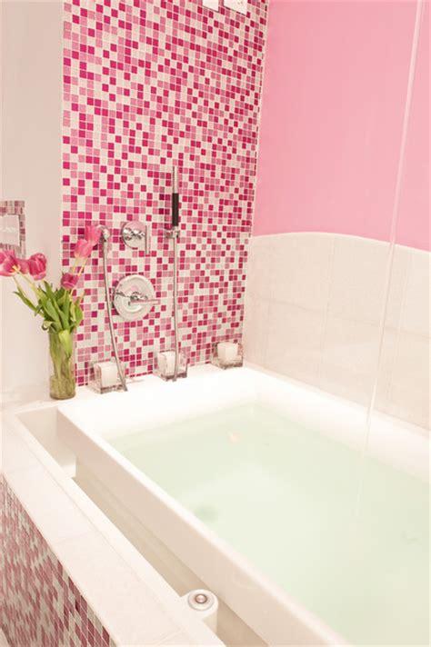 glitter wallpaper for bathroom pink glitter bathroom contemporary bathroom new york