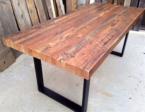 Custom Outdoor Indoor Exposed Edge Rustic Industrial Dining Room Tables Made From Reclaimed Wood
