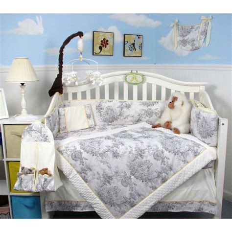 Toile Crib Bedding Sets by White Charcoal Toile Baby Crib Bedding Set 13 Pcs