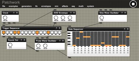 free modular synthesizer for your web browser patchwork