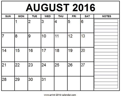 Calendar August 2016 Printable August 2016 Calendar