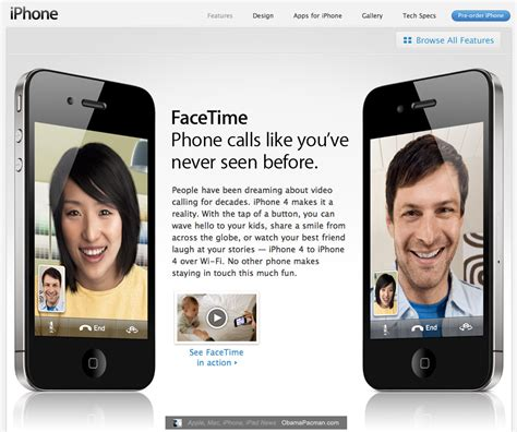 apple iphone 4 facetime chat open standard obama pacman