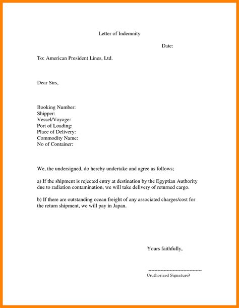 Resume Sample Format It by 9 Indemnity Letter Protect Letters