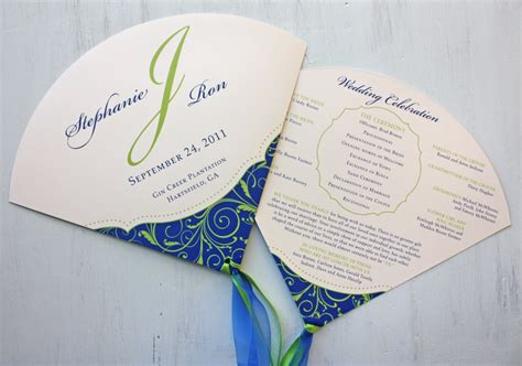 program fans for wedding ceremony royal blue and apple green vine swirls with dots round