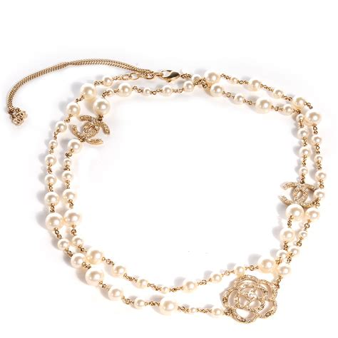 chanel pearl camellia cc necklace gold 69278