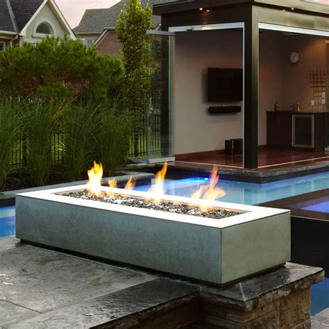 outdoor gas fireplaces pits paloform robata modern rectangular concrete outdoor