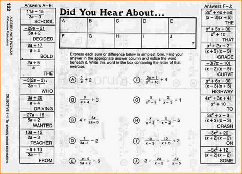 Did You Hear About Worksheet Answers by Did You Hear About Math Worksheet Answers Alge With
