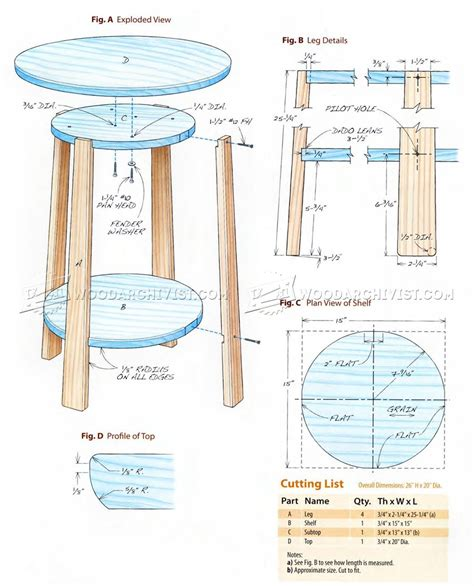 wood side table plans side table plans woodarchivist