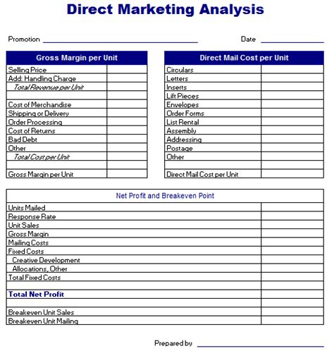advertising study template direct marketing analysis template excel templates