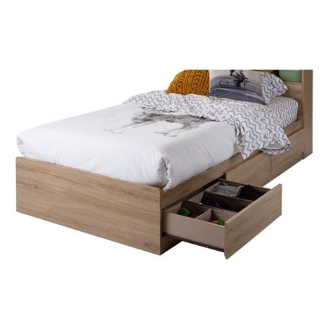 oak twin bed south shore fynn twin mates bed with 3 drawers in rustic